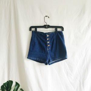 High Waisted Button Up Dark Jean Shorts